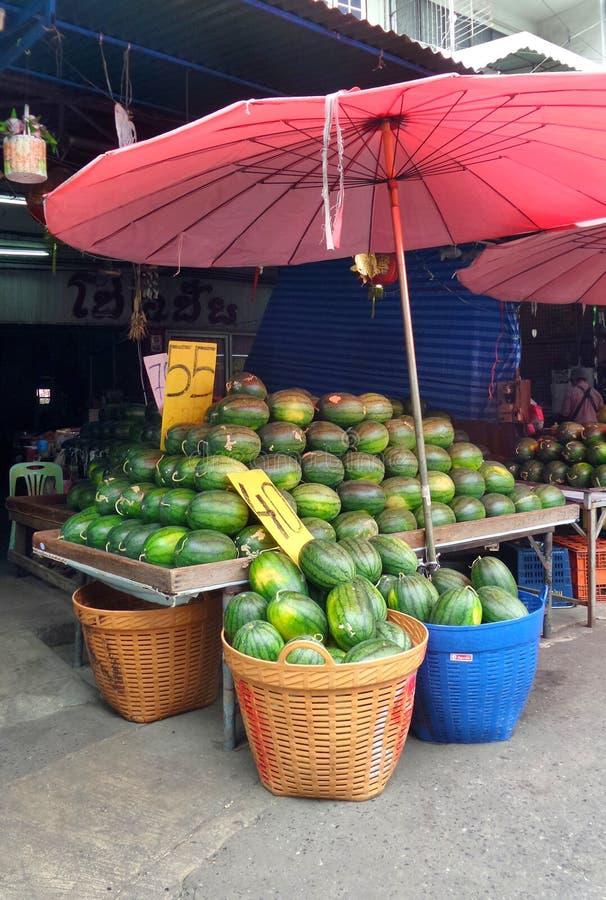 Vattenmelonförsäljare arkivbild