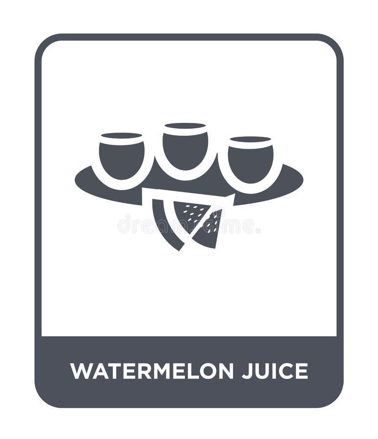 vattenmelonfruktsaftsymbol i moderiktig designstil vattenmelonfruktsaftsymbol som isoleras på vit bakgrund Symbol för vattenmelon vektor illustrationer