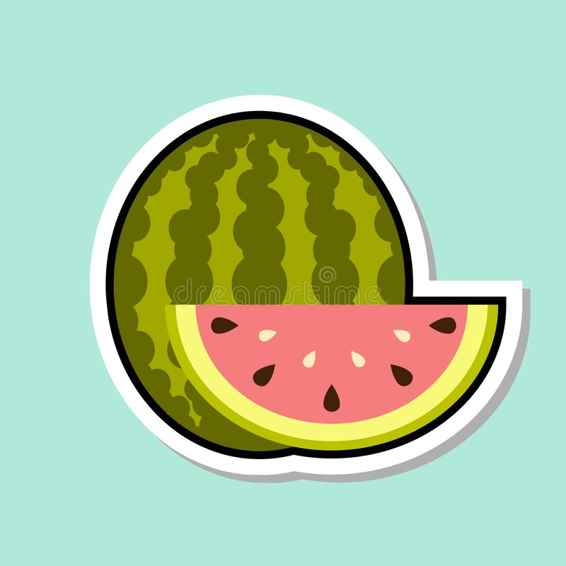 Vattenmelonklistermärke på färgrik fruktsymbol för blå bakgrund vektor illustrationer