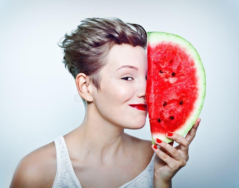 vattenmelonkvinna arkivfoton