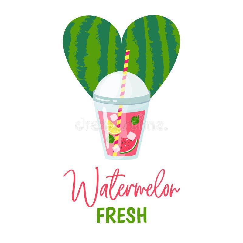 Vattenmelonlemonad eller nytt i kopp med citronen vektor illustrationer