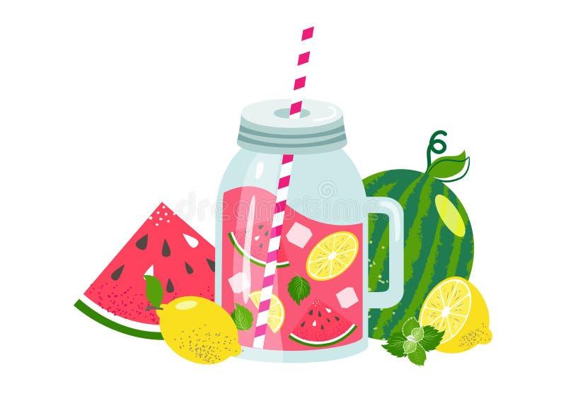 Vattenmelonlemonad i den glass kruset med skivacitronen, is, mintkaramell, vattenmelon, sugrör stock illustrationer