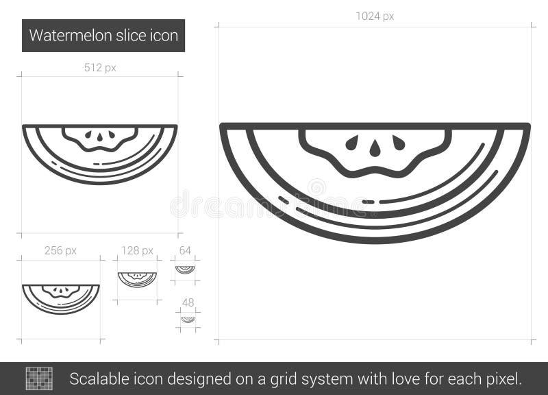 Vattenmelonlinje symbol stock illustrationer