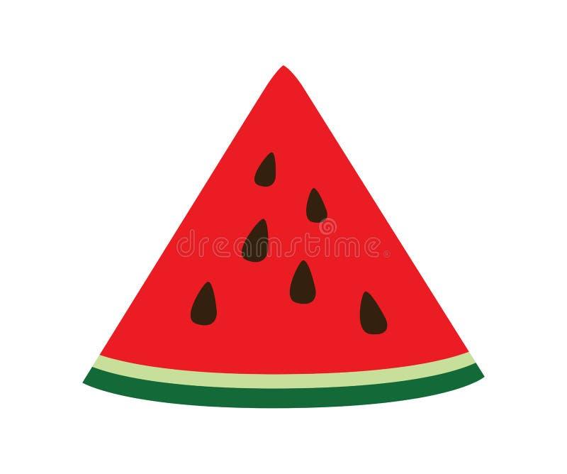 Vattenmelonskiva Begrepp av den sunda livsstilen och mogna frukter som isoleras på för designvektor för vit bakgrund plan illustr royaltyfri illustrationer