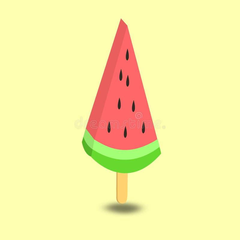 Vattenmelonskiva på en isglasspinne med en kräm- bakgrund royaltyfri illustrationer