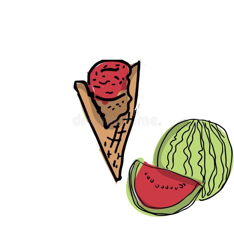 Vattenmelonsorbetglass som mellanmålet i sommar stock illustrationer