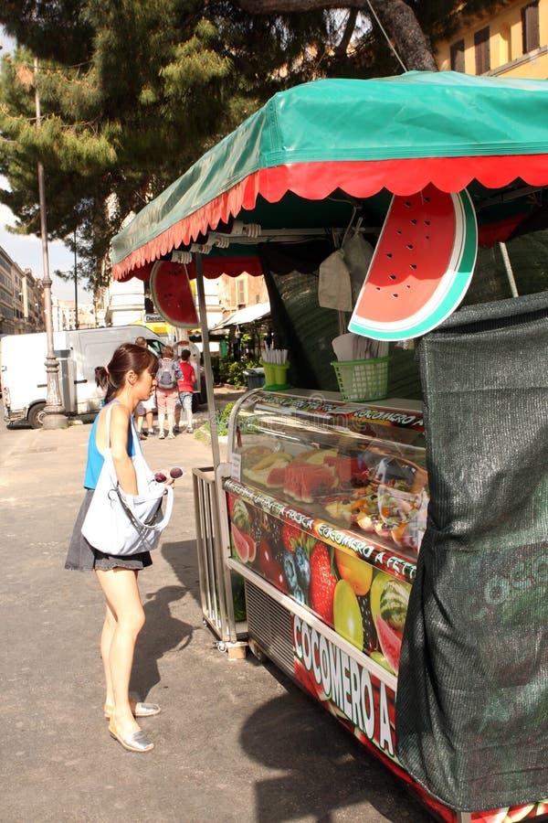 Vattenmelonställning Rome Italien arkivfoto