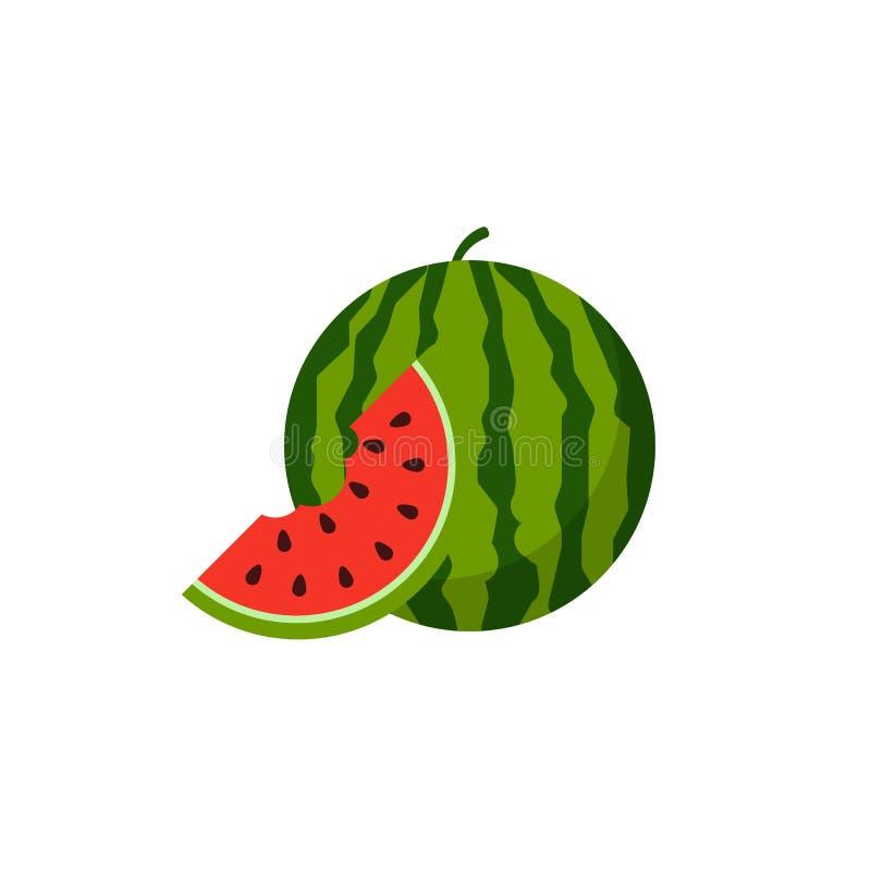 Vattenmelonsymbol som isoleras p? vit bakgrund ocks? vektor f?r coreldrawillustration royaltyfri illustrationer