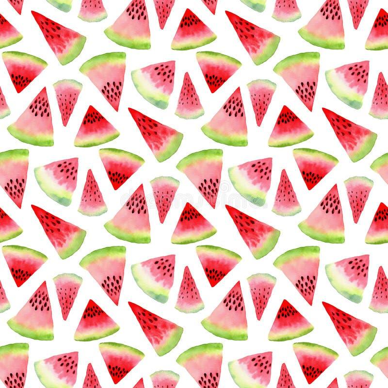 Vattenmelonvattenfärgmodell Tropisk matillustration Sömlös design för textil royaltyfri illustrationer