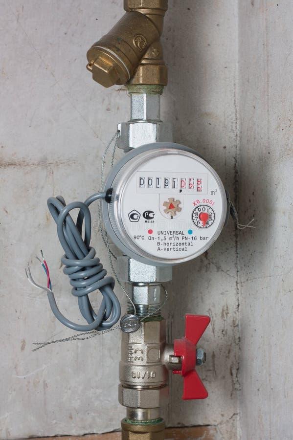 Vattenmeter med den inte-förbindelsepulsen som tillverkas royaltyfria bilder
