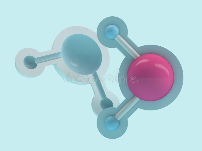 Vattenmolekyl Ekologi-, biologi- och biokemibegrepp 3d stock illustrationer