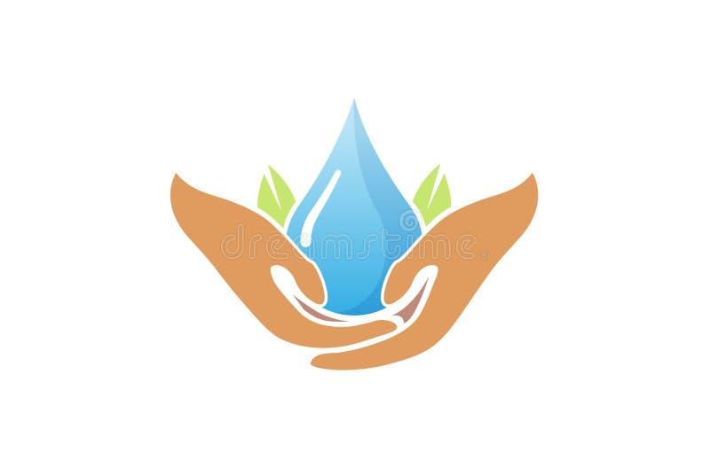 Vattenomsorghänder som rymmer dropplogo vektor illustrationer