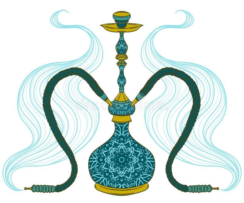 Vattenpipa med den arabisk modellen och rök vektor illustrationer