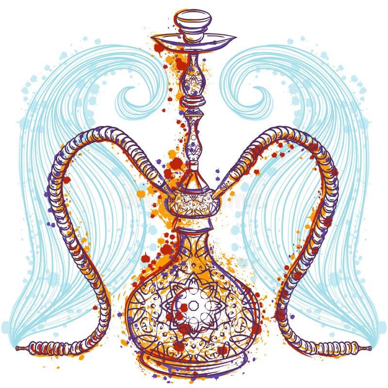 Vattenpipa med den orientaliska prydnaden och rök stock illustrationer