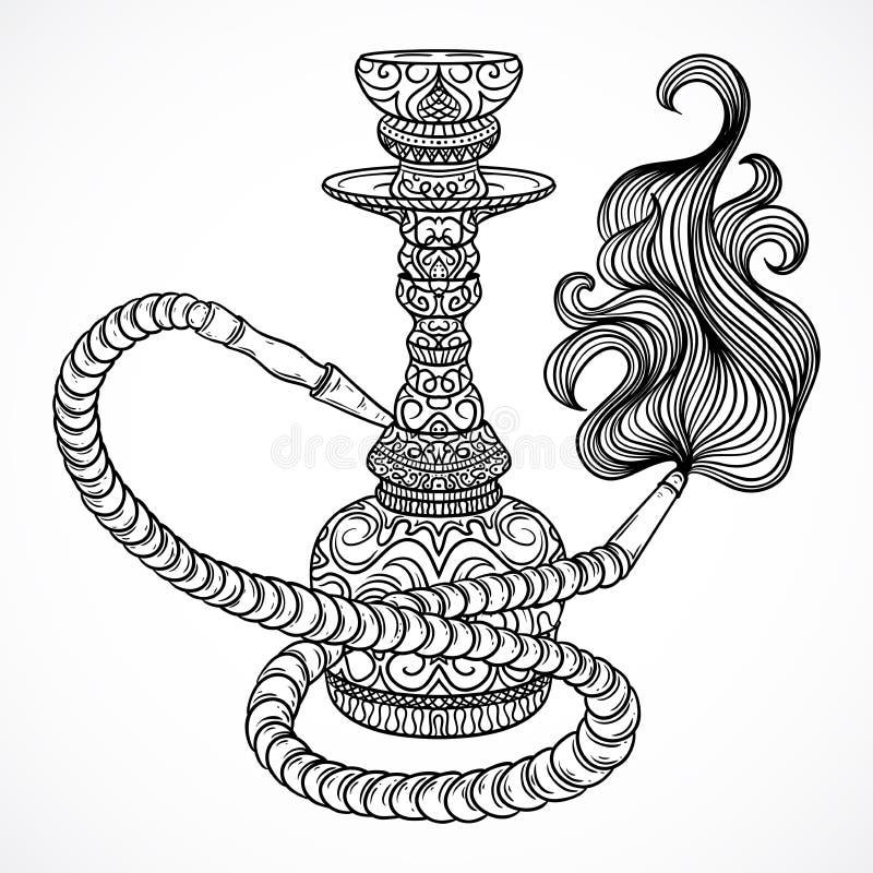 Vattenpipa med den orientaliska prydnaden och rök Tappningvektor stock illustrationer