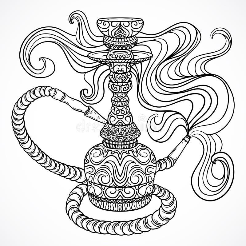 Vattenpipa med den orientaliska prydnaden och rök Tappningvektor royaltyfri illustrationer