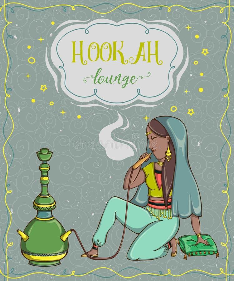 Vattenpipavardagsrum Tappningkort med att röka den arabiska kvinnan vektor illustrationer