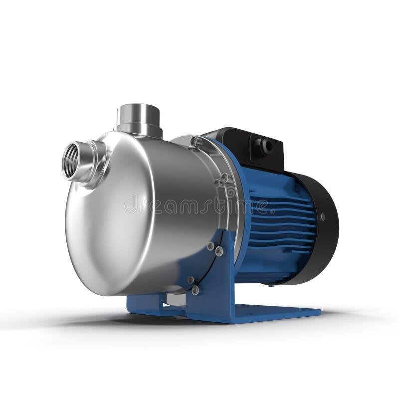 Vattenpumpen med en elektrisk motor av blått färgar på vit vektor illustrationer