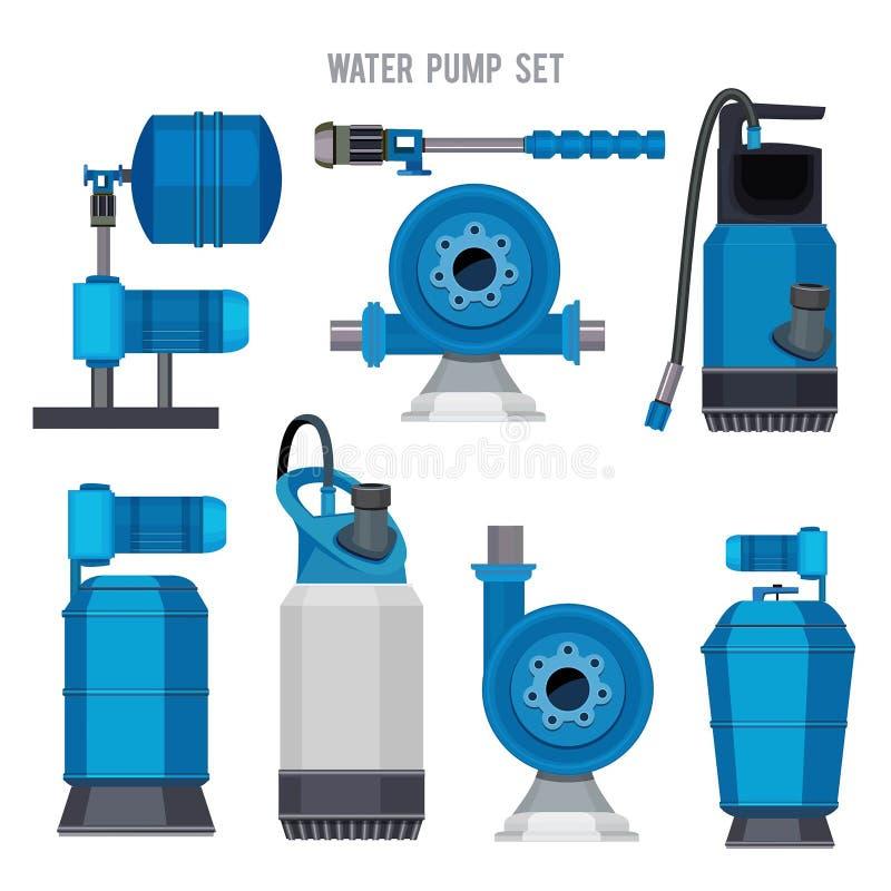 Vattenpumpsystem Symboler in för vektor för station för kloak för elektronisk kompressor för stål för Aquabehandling ställde åker stock illustrationer