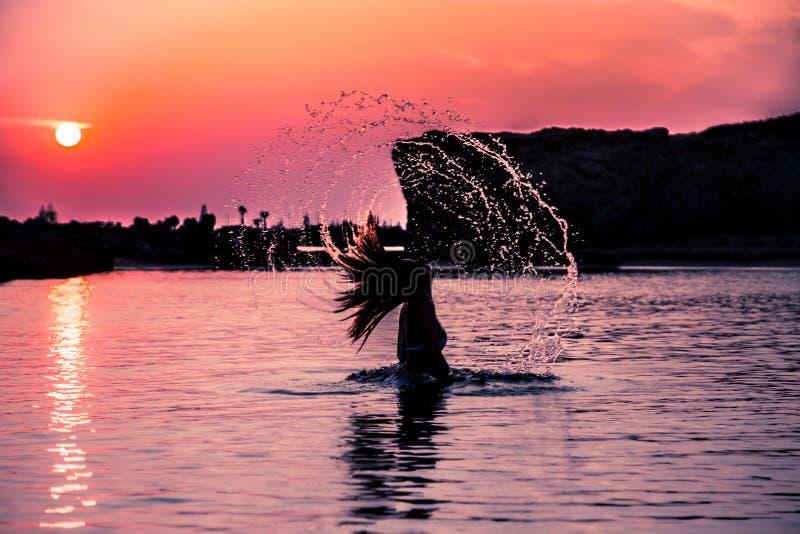 Vattenskikt Vänd solnedgång royaltyfri fotografi
