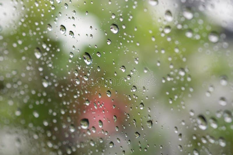 Vattensmå droppar på en vindruta royaltyfri foto