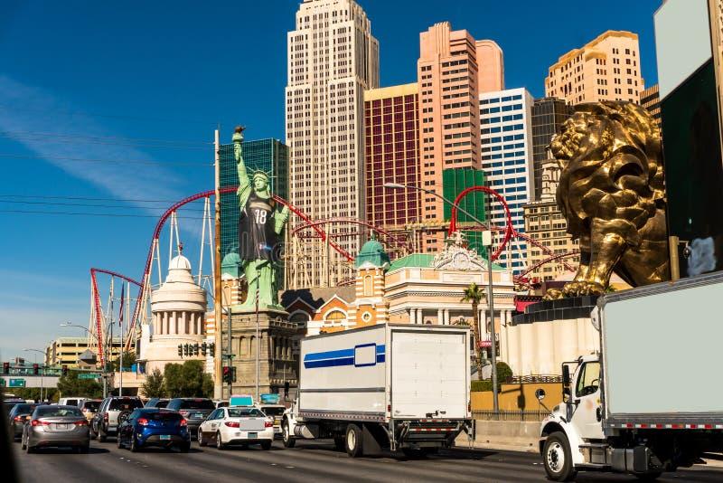 Vattenspringbrunn i Las Vegas arkivbild