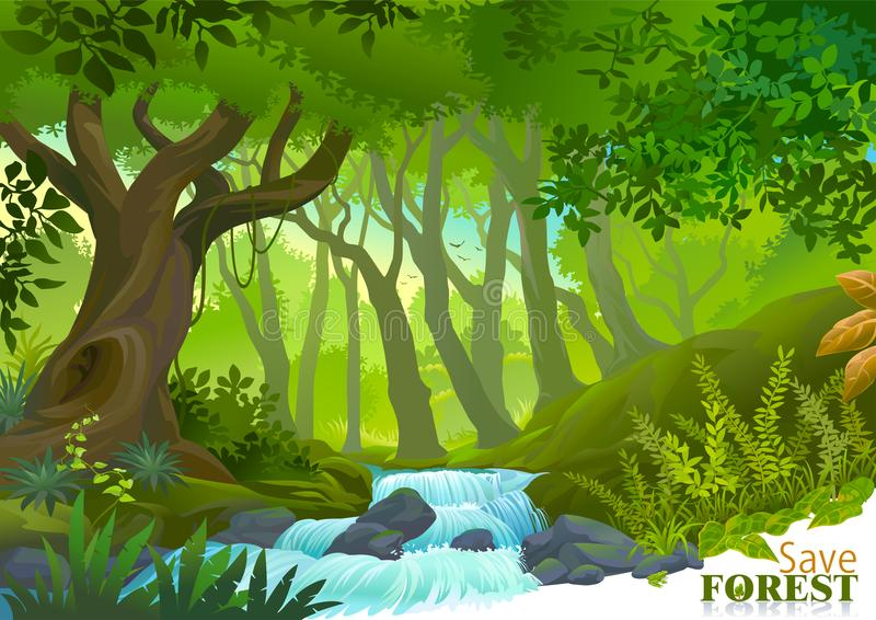 Vattenström i frodig grön tropisk rainforest royaltyfri illustrationer