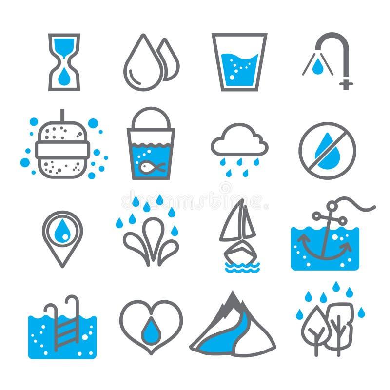 Vattensymbol för design på vit bakgrundsuppsättning 1 royaltyfri foto