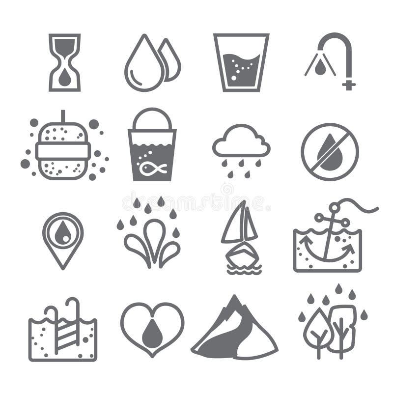 Vattensymbol för design på vit bakgrundsuppsättning 2 arkivfoton