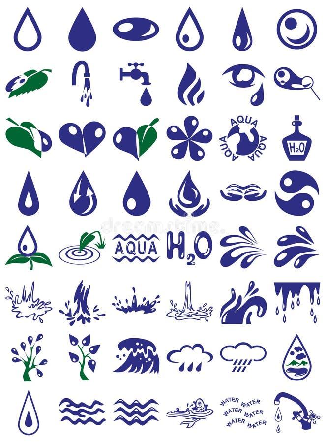 Vattensymboler vektor illustrationer