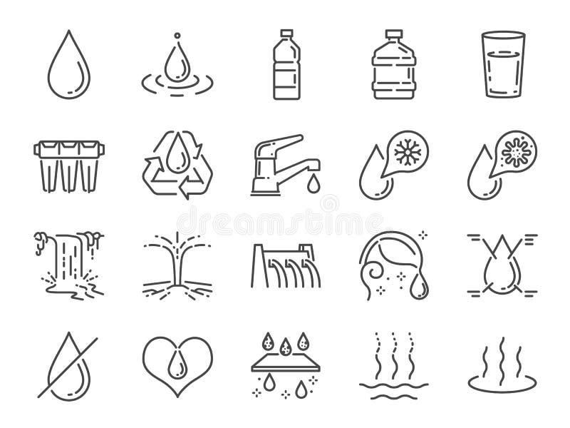 Vattensymbolsuppsättning Inklusive symboler som vatten tappar, fuktighet, flytande, flaskan, kull och mer stock illustrationer