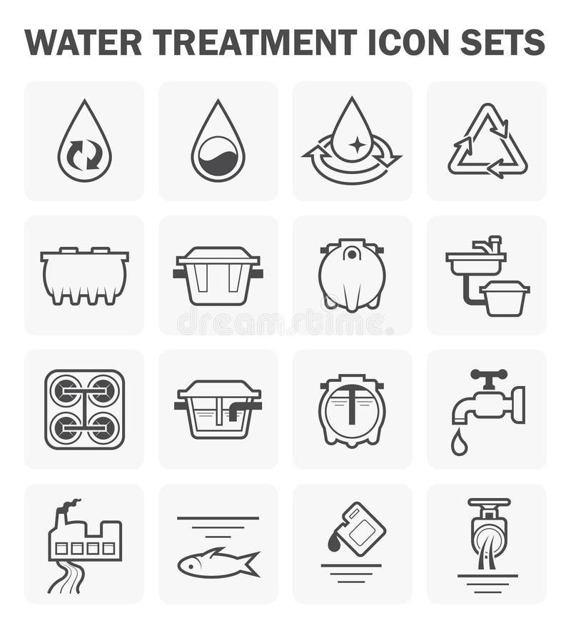 Vattensymbolsuppsättningar royaltyfri illustrationer