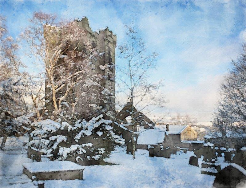 Vattentärfärgning av en vinterscen med en medeltida förstörd kyrka täckt i snö med omgivande kyrkoträd och hus vektor illustrationer