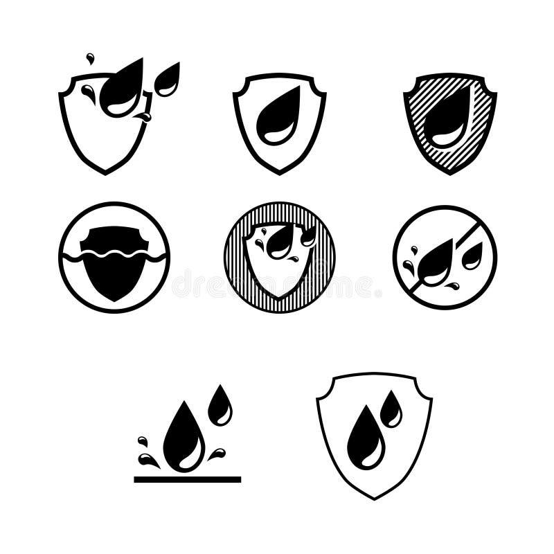 Vattentät symbol, symbol för vattenskydd, etikettklistermärkelogo royaltyfri illustrationer