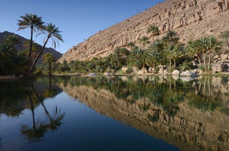 Vattentips i Wadi Bani Khalid, Oman arkivbild