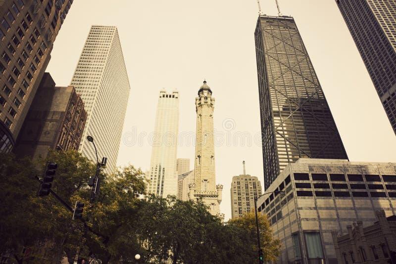 Vattentorn i Chicago arkivfoto