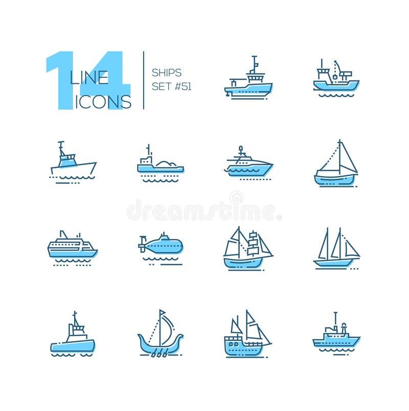 Vattentransport - den tunna linjen designsymboler ställde in royaltyfri illustrationer