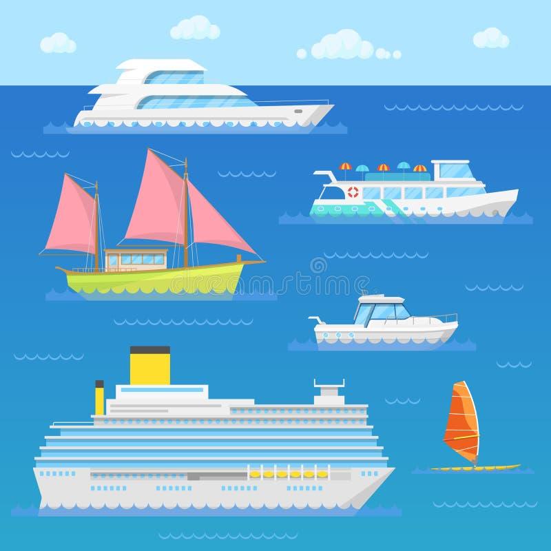 Vattentransport med skeppet, eyeliner, fartyget och surfaren vektor illustrationer