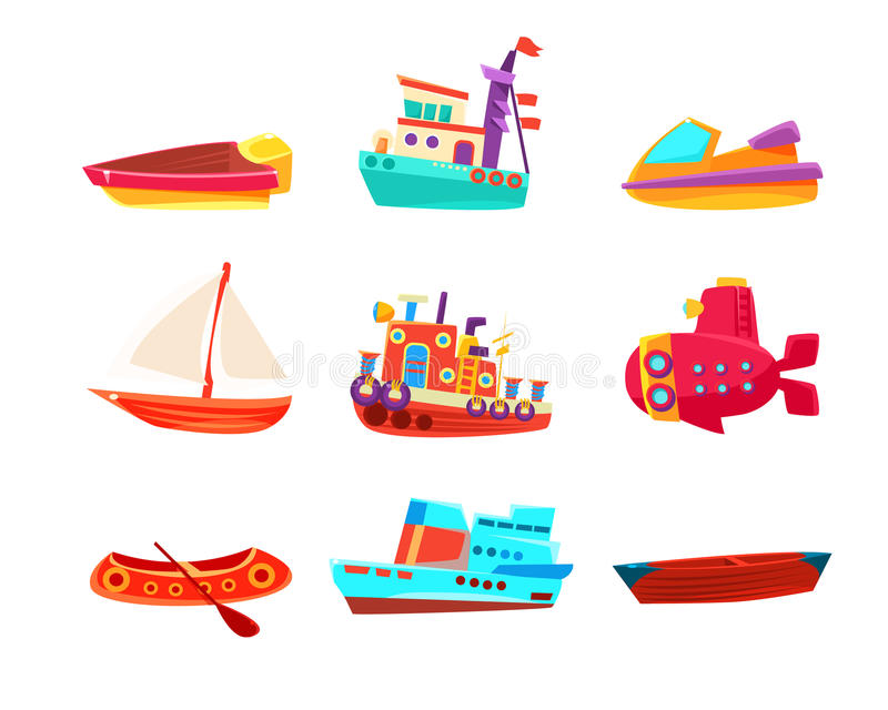 Vattentransport Toy Boats Icon Collection stock illustrationer