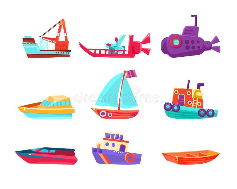 Vattentransport Toy Boats Set vektor illustrationer