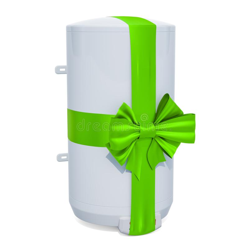 Vattenvärmeapparat eller kokkärl för behållare elektrisk med det gröna bandet och pilbågen vektor illustrationer