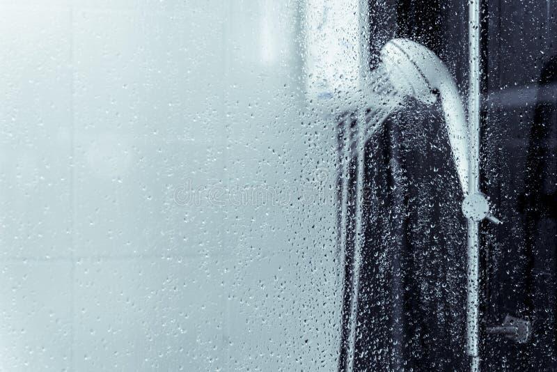 Vattenvärmeapparat och duschsprej i badrum royaltyfri foto