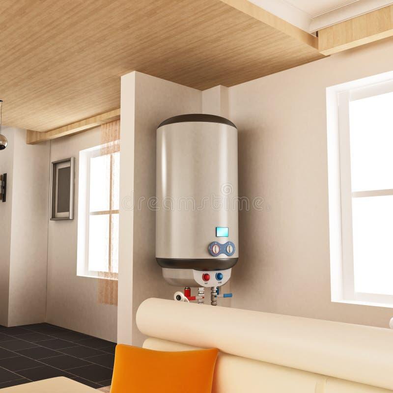 Vattenvärmeapparat som hänger på väggen illustration 3d royaltyfri illustrationer