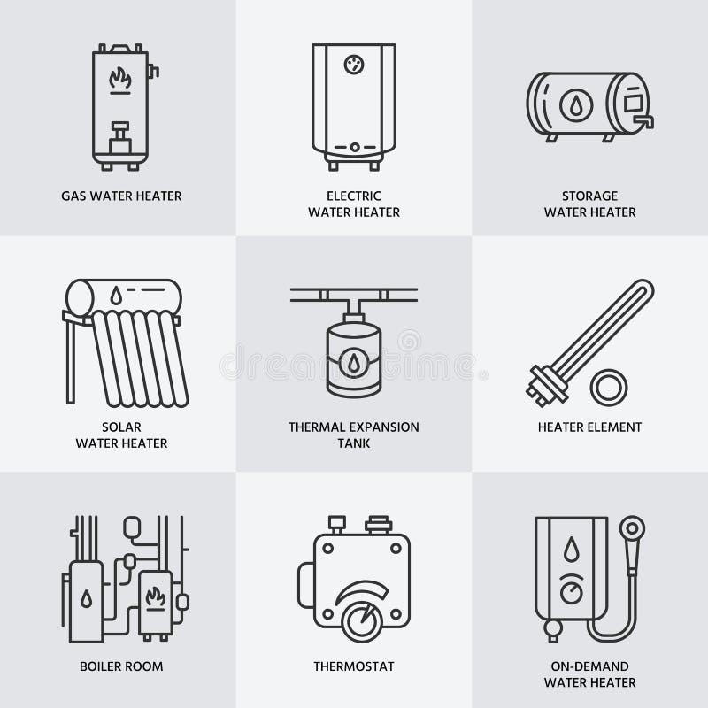Vattenvärmeapparaten, kokkärlet, elkraften, gas, sol- värmeapparater och annan husuppvärmningutrustning fodrar royaltyfri illustrationer