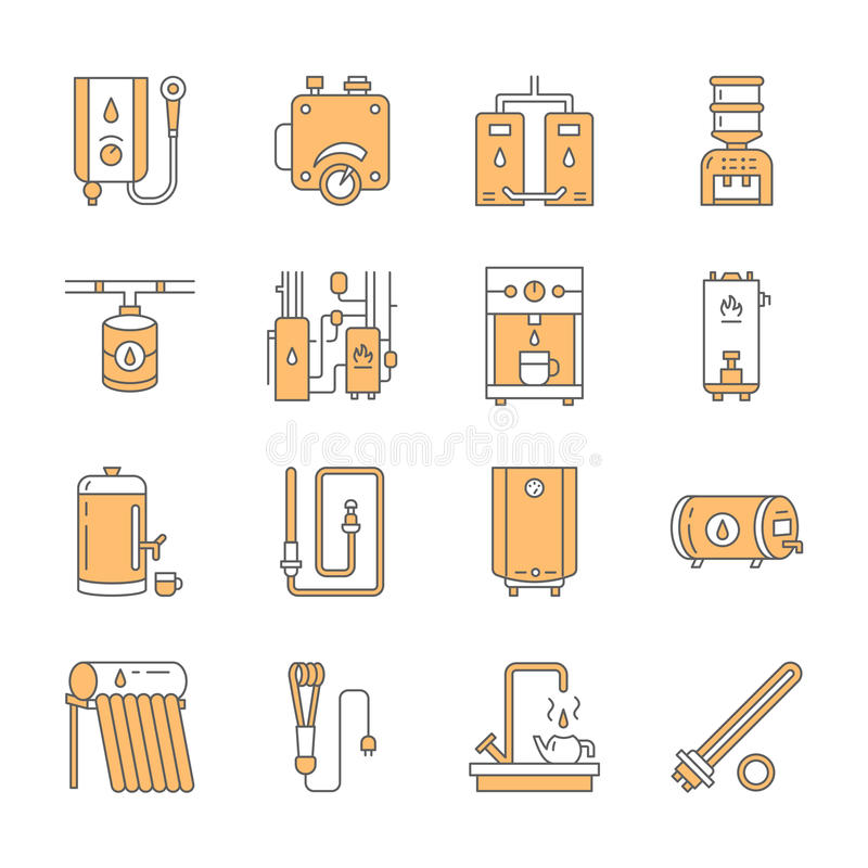 Vattenvärmeapparaten, kokkärlet, termostaten, elkraften, gas, sol- värmeapparater och annan husuppvärmningutrustning fodrar symbo royaltyfri illustrationer