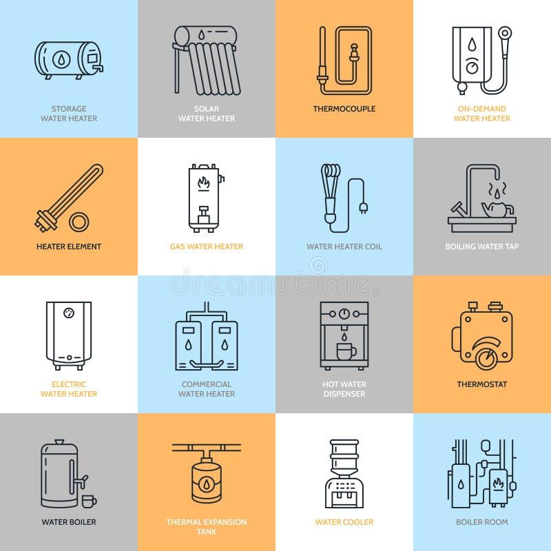 Vattenvärmeapparaten, kokkärlet, termostaten, elkraften, gas, sol- värmeapparater och annan husuppvärmningutrustning fodrar symbo vektor illustrationer