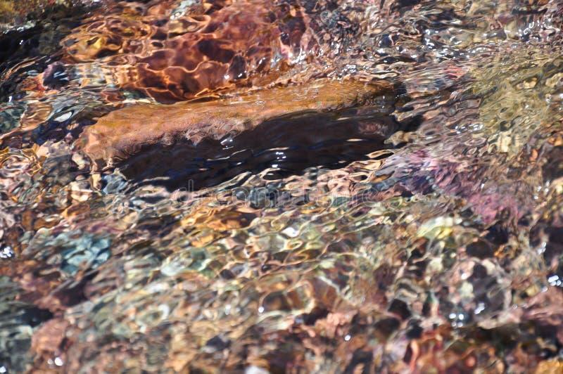 Vattenvågor och kullersten royaltyfria foton