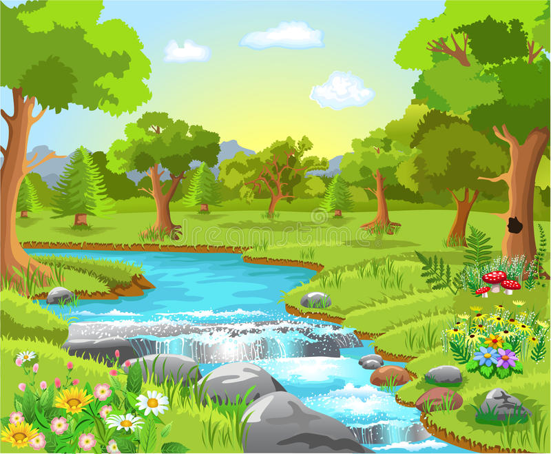 Vattenvår i skogen stock illustrationer