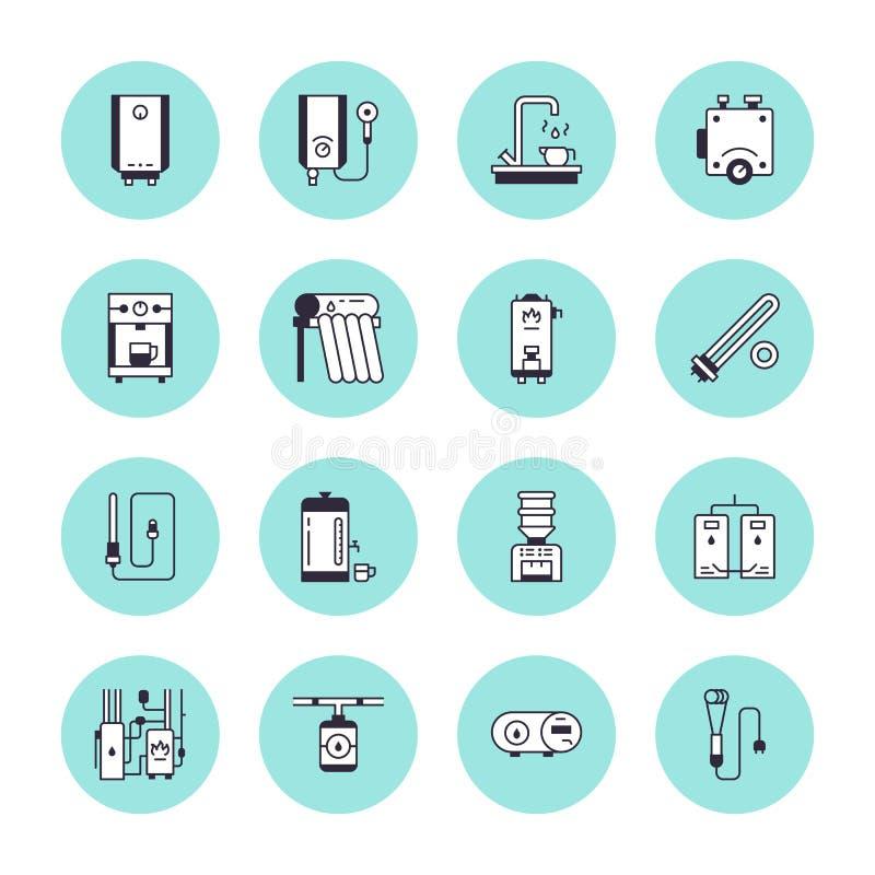 Vattenv?rmeapparaten, kokk?rlet, termostaten, elkraften, gas, sol- v?rmeapparater och annan husuppv?rmningutrustning fodrar symbo royaltyfri illustrationer