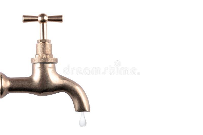 Vattenvattenkran med droppe royaltyfri bild